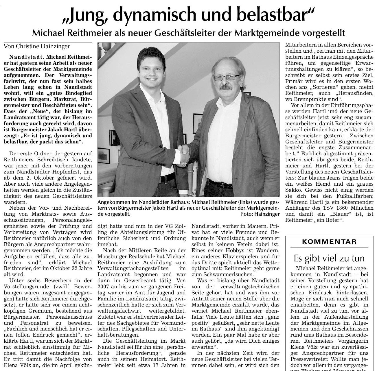 Michael Reithmeier als neuer Geschäftsführer der Marktgemeinde vorgestellt