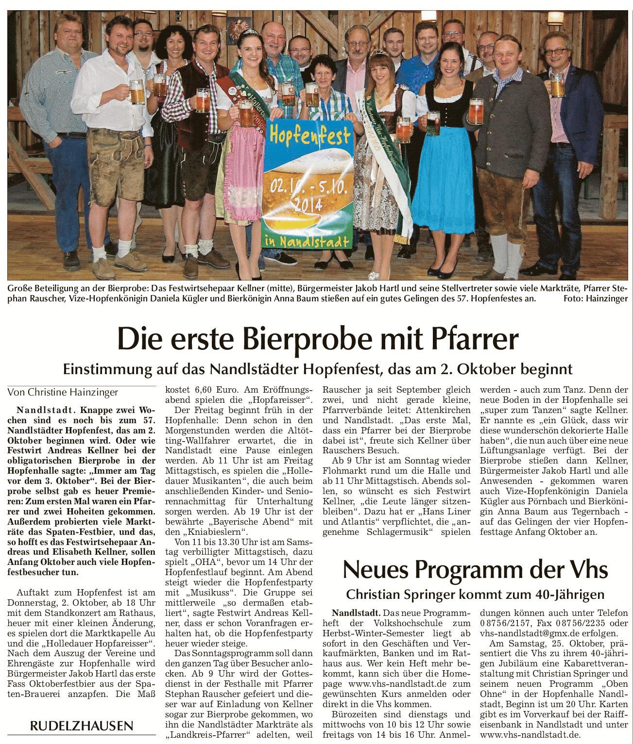 Einstimmung auf das Nandlstädter Hopfenfest, das am 2. Oktober beginnt