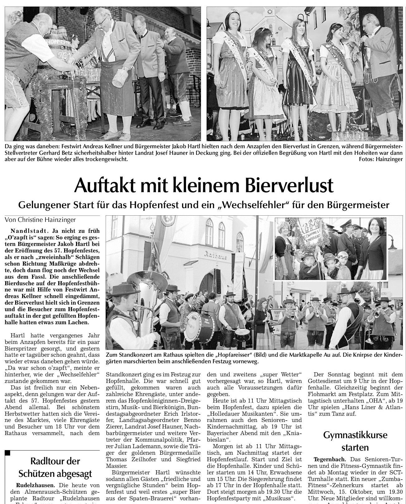 """Gelungener Start für das Hopfenfest und ein """"Wechselfehler"""" für den Bürgermeister"""